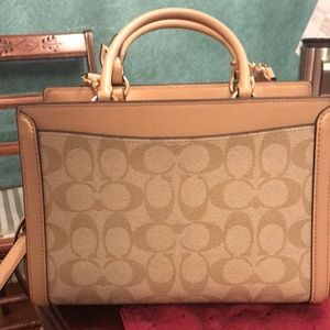 COACH small signature with snakeskin panel